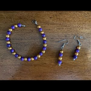 Purple and gold handmade bracelet and earrings